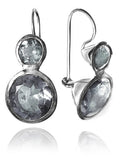 Large Jaipuri Two Stone Drop Earrings Clear Quartz