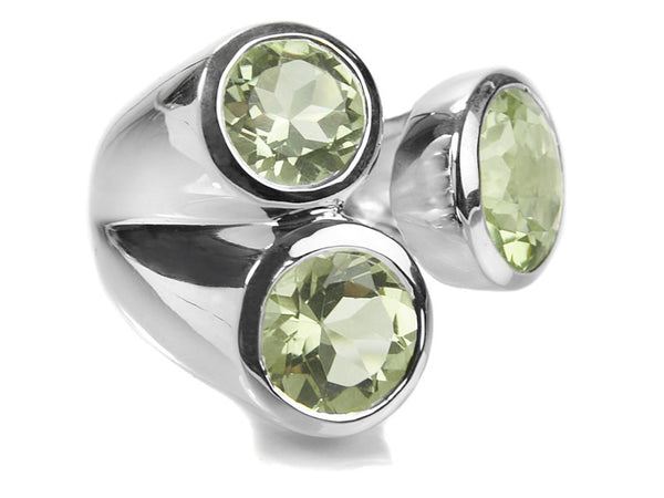 Three Stone Jaipuri Non-Connect Ring Green Amethyst