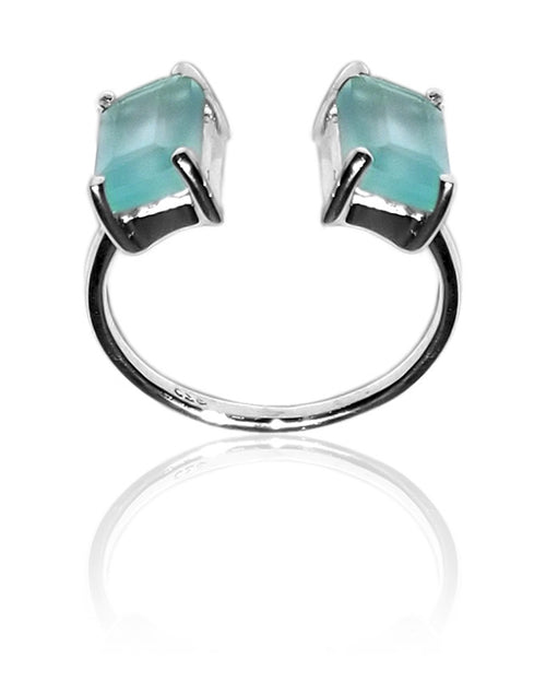 Non Connect Trek Ring Aqua Chalcedony