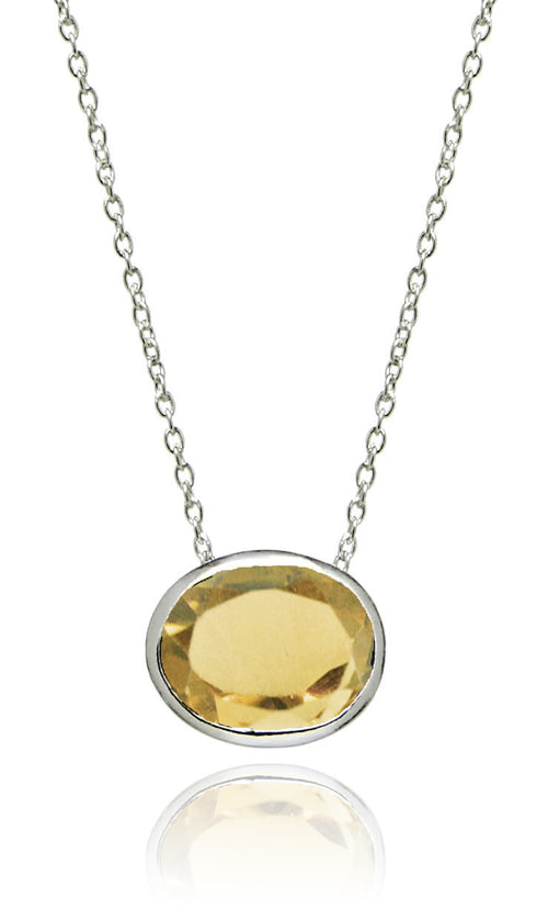 Floating Oval Pietra Necklace Citrine