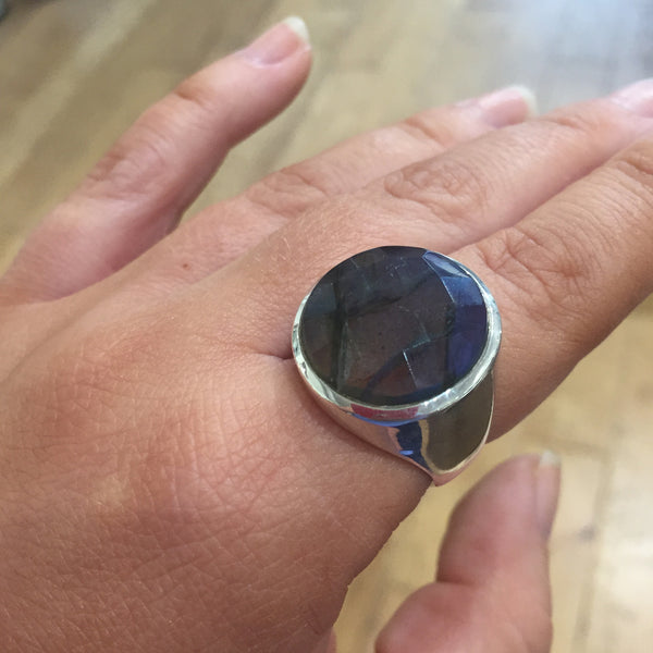 Medium Faceted Circle Cocktail Ring