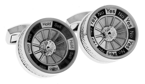 Spinning Decision Maker Cufflinks (Swarovski Crystals)