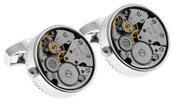 Round Watch Movement Cufflinks (Rhodium)