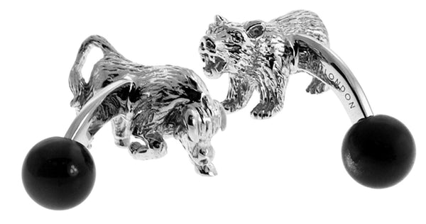 Bull & Bear Cufflinks (Rhodium Plated with Cat's Eye Black)