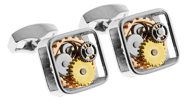 Gear Cufflinks- Rhodium