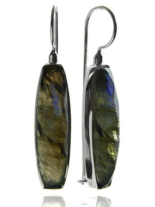 Mini Faceted Vertical Drop Earrings Labradorite