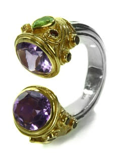 Large Serpentine Open Stone Ring Amethyst