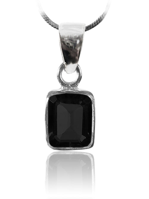 Small Rectangular Pendant Black Onyx