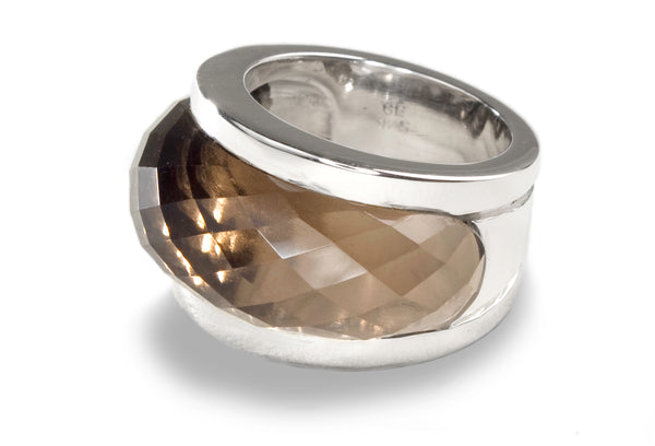 Curved Venetian Faceted Cocktail Band Smokey Quartz
