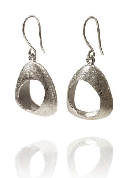 Brushed Gaudi Triangle Earrings