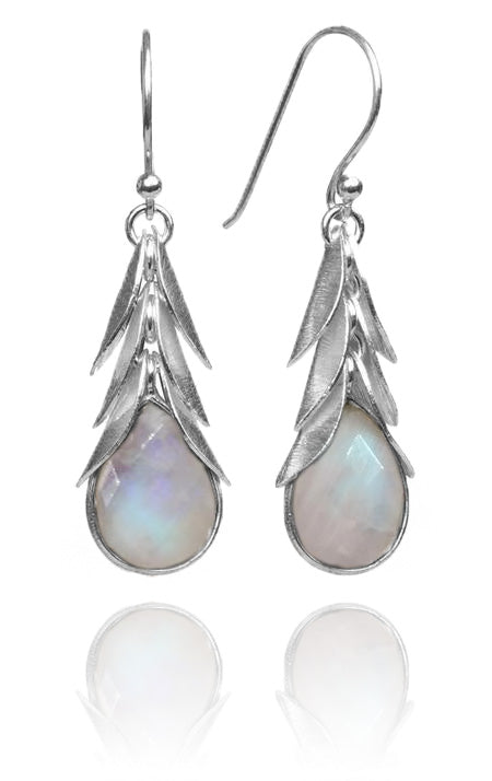 Brazilian Leaf Stone Drops White Moonstone