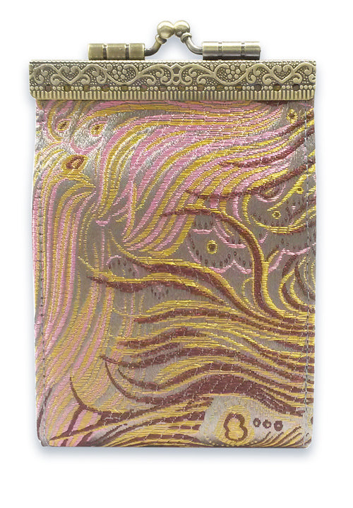 Card Holder Grey, Brown and Pink Peacock