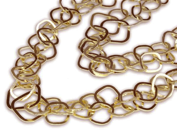 18K Gold Plated Latin Double Interlocking Square Linked Necklace