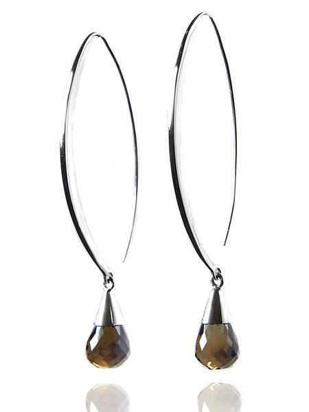 Long Curved Gemstone Drop Earrings Smokey Quartz