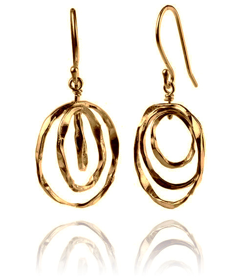18K Gold Plated Thin Battered Concentric Circle Earrings