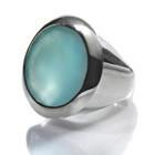 Large Faceted Circle Cocktail Ring Aqua Chalcedony
