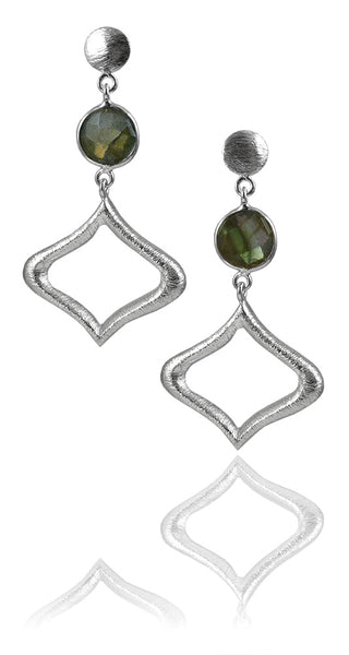 Arabesque Outline with Stone Earring Labradorite
