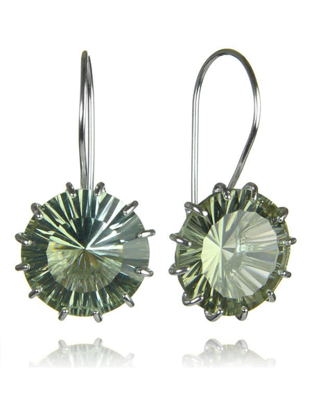 Milano Threaded Circle Drops Green Amethyst