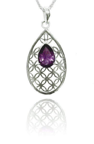 Flower of Life Teardrop Pendant with Amethyst