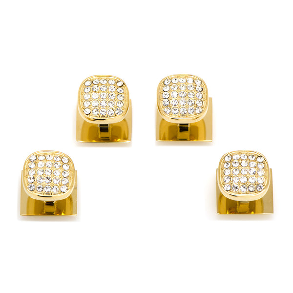 Stainless Steel Gold Plated White Pave Crystal Stud Set