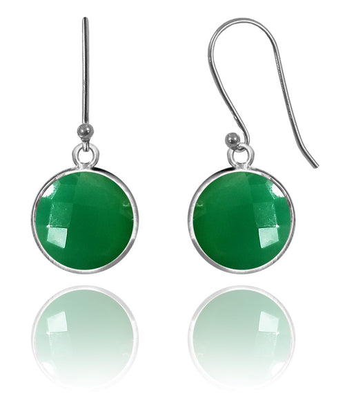 Medium Hanging Puntino Earrings Green Onyx