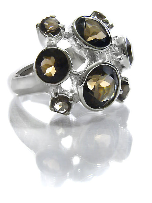 Eight Stone Free Style Bubble Ring Smokey Quartz