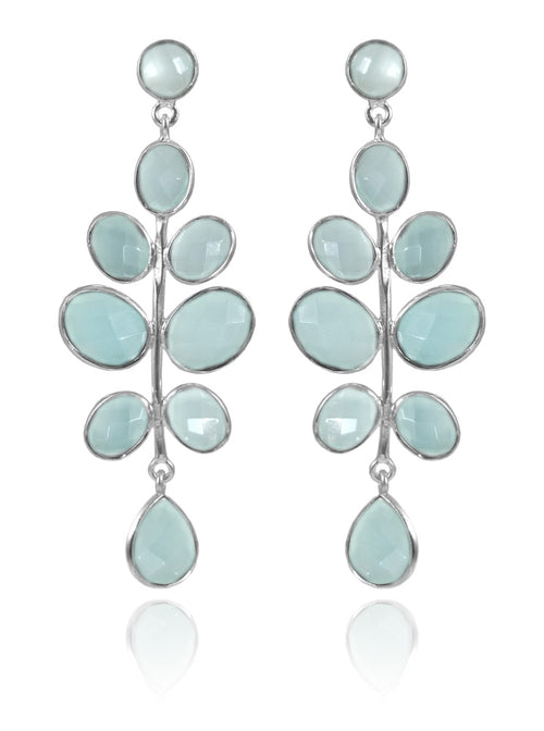 Budding Branch Earrings Aqua Chalcedony