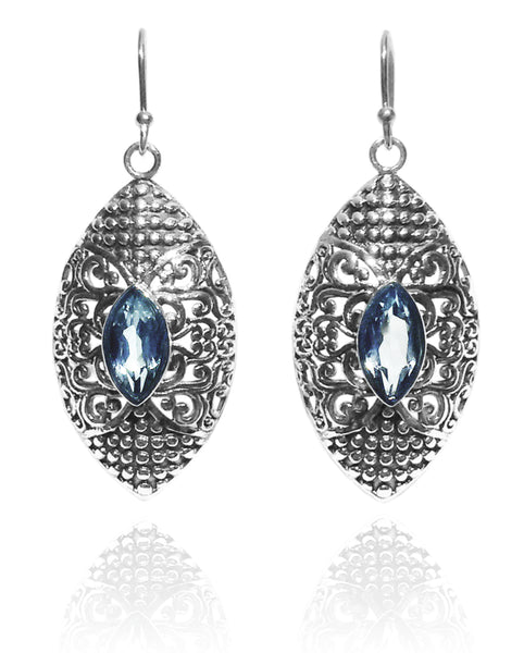Bali Marquee Earrings - Blue Topaz