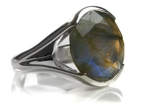 Italian Faceted Cocktail Ring with Open Side Band
