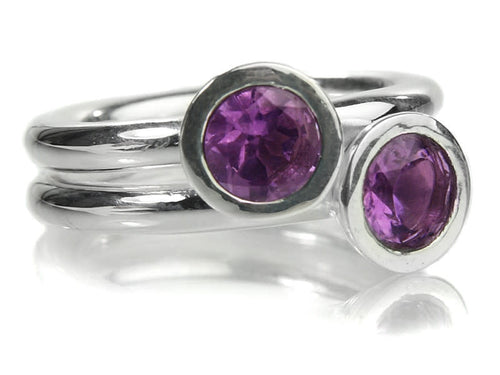 Two Stone Stacked Ring Amethyst
