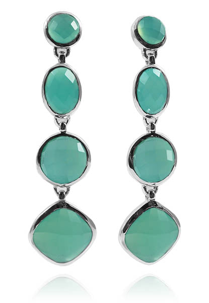 Four Geometric Drop Earring Aqua Chalcedony