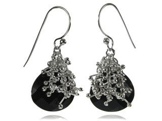 Small Burst Earrings Black Onyx