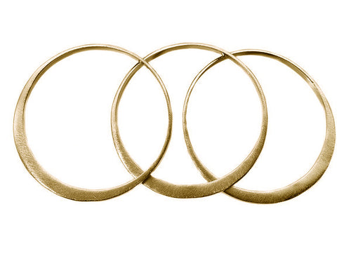 Gold Plated Three Collective Bangles (Brushed)