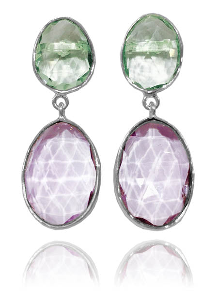 Large River Rock Earrings - Amethyst/Green Amethyst