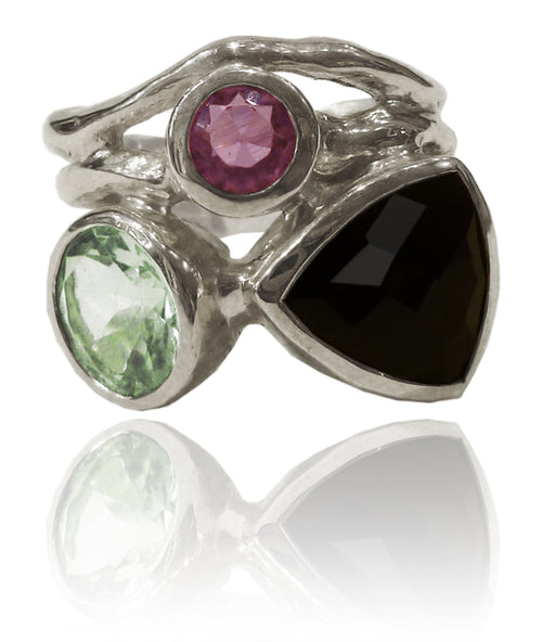 Twisted Twig Cocktail Ring Black Onyx/Green Amethyst 5