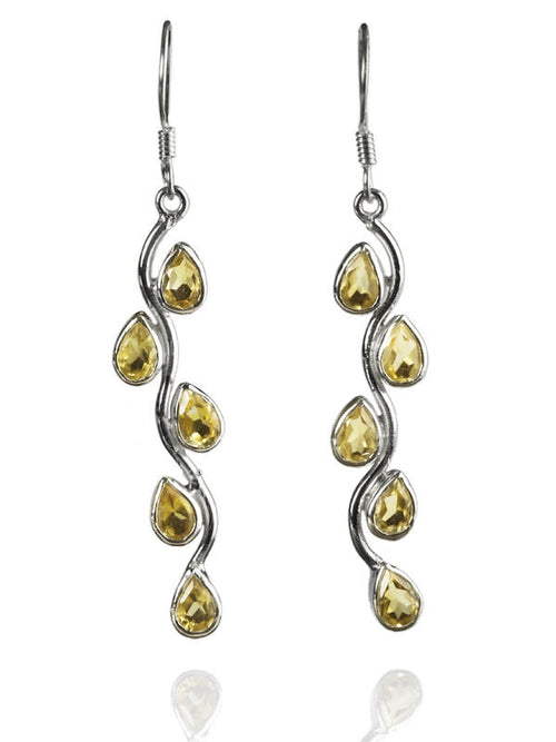 Vertical Stone Leaf Drop Earrings Citrine
