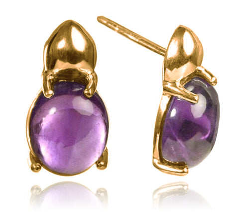 18K Gold Plated Large Khepri Scarab Stone Beetle Earrings Amethyst