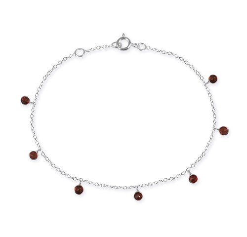 7 Stone Kathak Dangle Bracelet Garnet