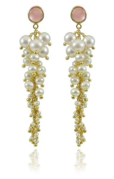 Italian Cascade Cluster Pearl Earrings Pink Chalcedony