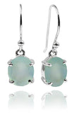 Da Vinci Four Prong Oval Earrings Aqua Chalcedony