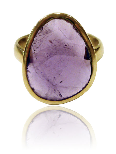 18k Gold Plated River Rock Ring Amethyst
