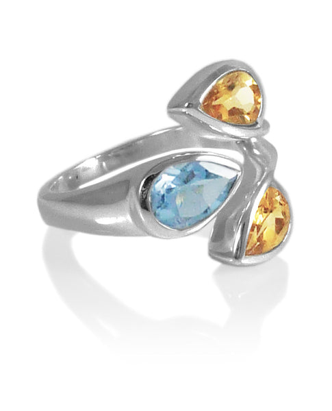 Three Stone Leaf Wrap Ring Blue Topaz and Citrine