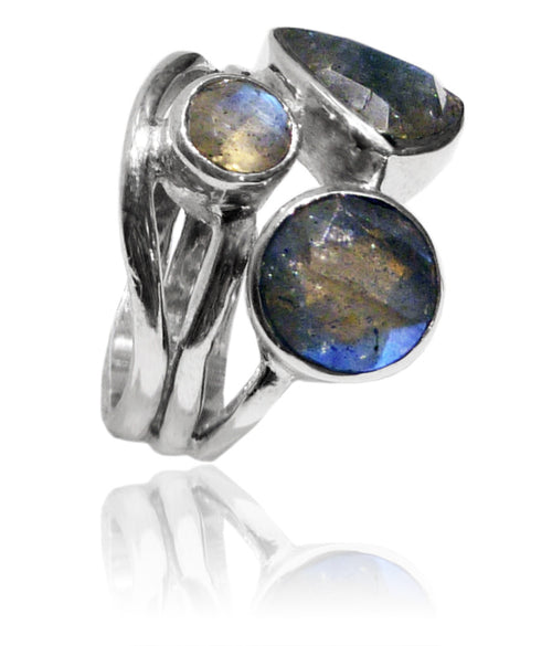 Twisted Twig Cocktail Ring Labradorite