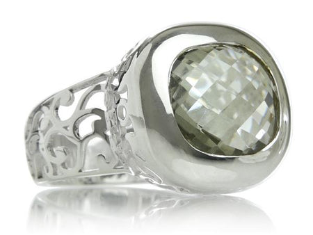 Gaudi Pointalism Square Cocktail Ring Smokey Quartz