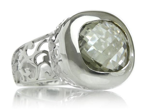 Arabesque Square Filigree Cocktail Ring Green Amethyst