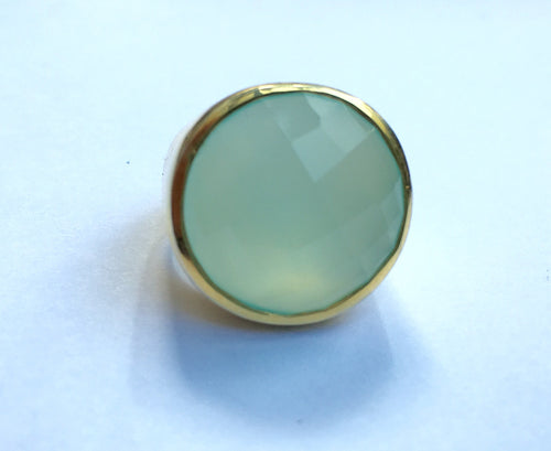 18K Gold Plated Medium Faceted Circle Cocktail Ring Aqua Chalcedony