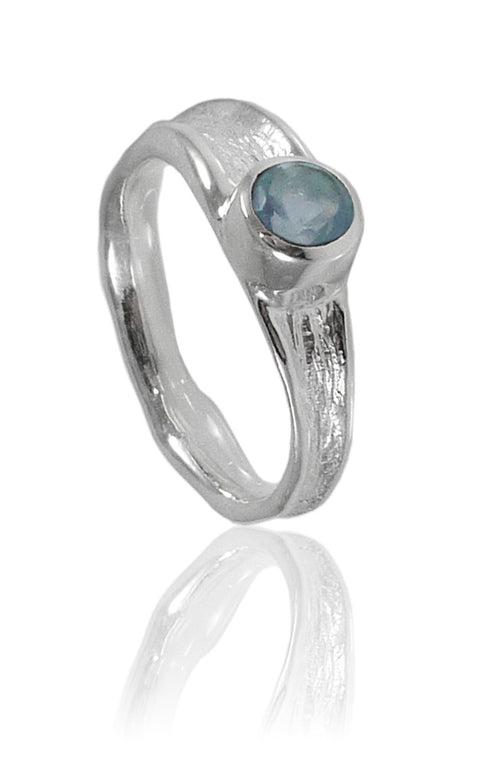 Thin Amazon River Ring with Stone Blue Topaz