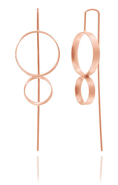 Rose Gold Plated Brushed Double Circle Pin Earrings
