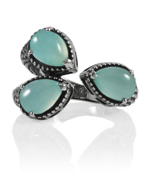 Dragon Foot Ring Aqua Chalcedony Size 8