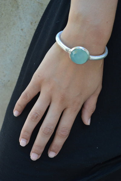 Art Deco Bangle Stone Cuff Aqua Chalcedony